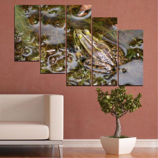 Декоративни панели и картини от канава - от 5 части №0510 » Зелен, Кафяв, Сив, Тъмно сив » Вода, Жаба, Влечуго Form #7