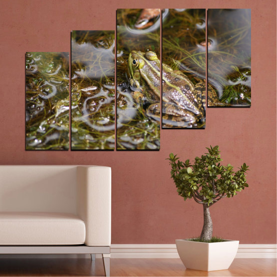 Canvas prints & wall decorative panels - 5 pieces №0510 » Green, Brown, Gray, Dark grey » Water, Frog, Reptile Form #8
