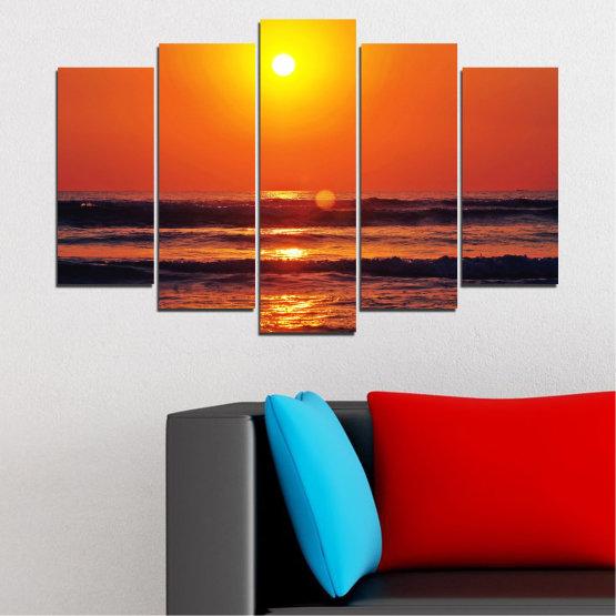 Декоративни панели и картини от канава - от 5 части №0512 » Червен, Оранжев, Черен, Тъмно сив » Пейзаж, Море, Залез, Вода, Слънце, Вълна Form #1