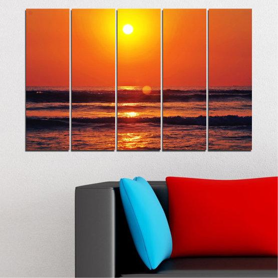 Canvas prints & wall decorative panels - 5 pieces №0512 » Red, Orange, Black, Dark grey » Landscape, Sea, Water, Sunset, Sun, Wave Form #2