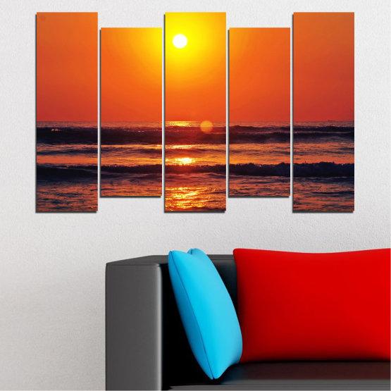 Декоративни панели и картини от канава - от 5 части №0512 » Червен, Оранжев, Черен, Тъмно сив » Пейзаж, Море, Залез, Вода, Слънце, Вълна Form #3