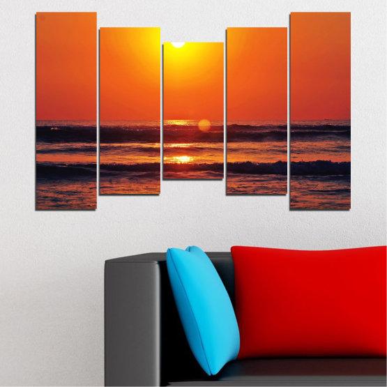 Декоративни панели и картини от канава - от 5 части №0512 » Червен, Оранжев, Черен, Тъмно сив » Пейзаж, Море, Залез, Вода, Слънце, Вълна Form #4