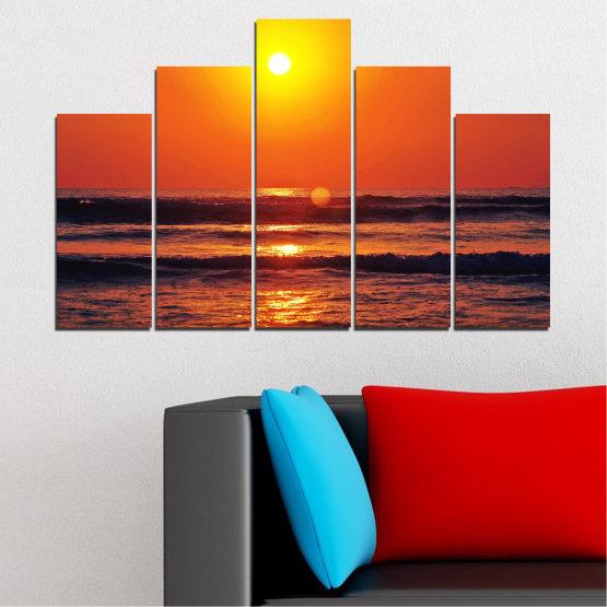 Декоративни панели и картини от канава - от 5 части №0512 » Червен, Оранжев, Черен, Тъмно сив » Пейзаж, Море, Залез, Вода, Слънце, Вълна Form #5