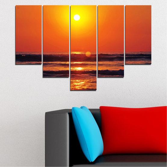 Декоративни панели и картини от канава - от 5 части №0512 » Червен, Оранжев, Черен, Тъмно сив » Пейзаж, Море, Залез, Вода, Слънце, Вълна Form #6