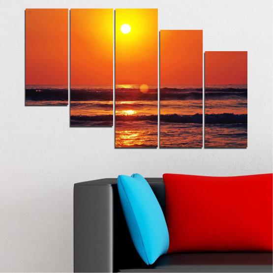 Декоративни панели и картини от канава - от 5 части №0512 » Червен, Оранжев, Черен, Тъмно сив » Пейзаж, Море, Залез, Вода, Слънце, Вълна Form #7