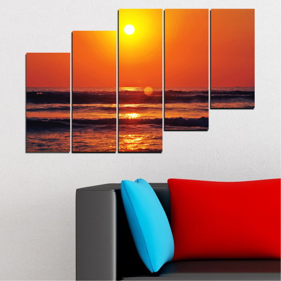 Декоративни панели и картини от канава - от 5 части №0512 » Червен, Оранжев, Черен, Тъмно сив » Пейзаж, Море, Залез, Вода, Слънце, Вълна Form #8