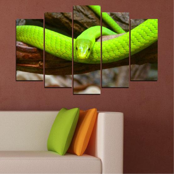 Декоративни панели и картини от канава - от 5 части №0513 » Зелен, Кафяв, Черен, Тъмно сив » Дърво, Змия, Влечуго Form #1