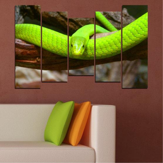 Декоративни панели и картини от канава - от 5 части №0513 » Зелен, Кафяв, Черен, Тъмно сив » Дърво, Змия, Влечуго Form #4