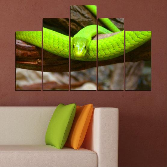 Декоративни панели и картини от канава - от 5 части №0513 » Зелен, Кафяв, Черен, Тъмно сив » Дърво, Змия, Влечуго Form #5