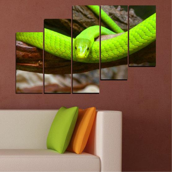 Декоративни панели и картини от канава - от 5 части №0513 » Зелен, Кафяв, Черен, Тъмно сив » Дърво, Змия, Влечуго Form #8