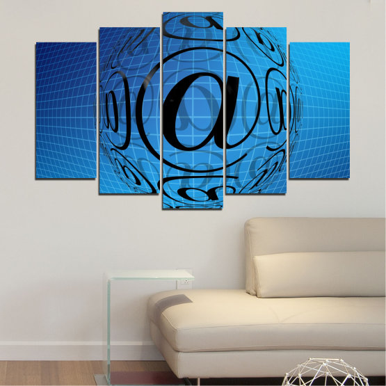 Canvas prints & wall decorative panels - 5 pieces №0514 » Blue, Turquoise, Black » Abstraction, Internet, Computer Form #1