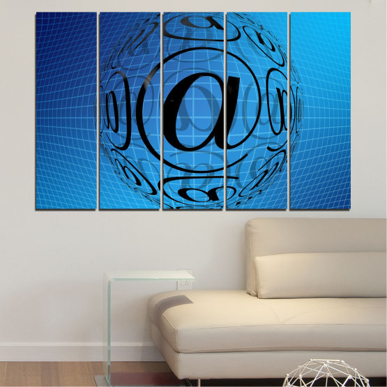 Canvas prints & wall decorative panels - 5 pieces №0514 » Blue, Turquoise, Black » Abstraction, Internet, Computer Form #2
