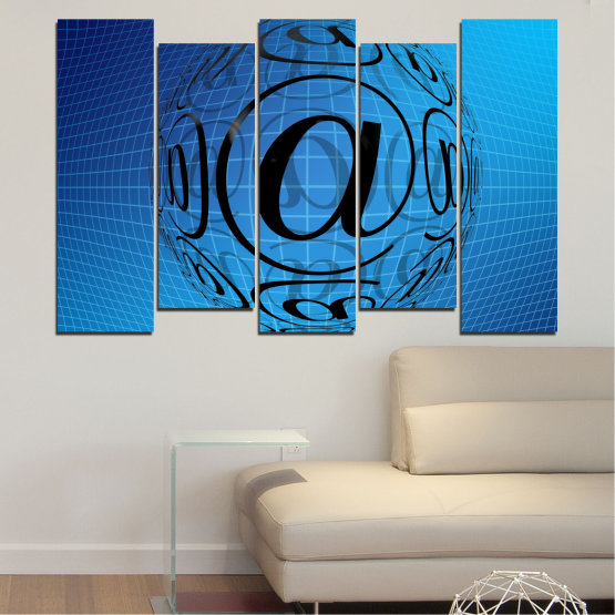 Canvas prints & wall decorative panels - 5 pieces №0514 » Blue, Turquoise, Black » Abstraction, Internet, Computer Form #3