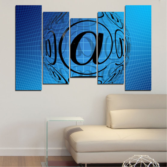 Canvas prints & wall decorative panels - 5 pieces №0514 » Blue, Turquoise, Black » Abstraction, Internet, Computer Form #4