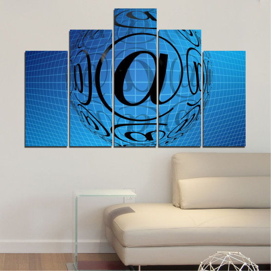 Canvas prints & wall decorative panels - 5 pieces №0514 » Blue, Turquoise, Black » Abstraction, Internet, Computer Form #5