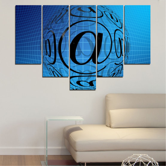 Canvas prints & wall decorative panels - 5 pieces №0514 » Blue, Turquoise, Black » Abstraction, Internet, Computer Form #6
