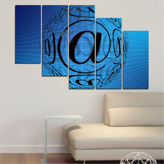 Canvas prints & wall decorative panels - 5 pieces №0514 » Blue, Turquoise, Black » Abstraction, Internet, Computer Form #7