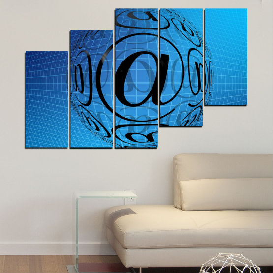 Canvas prints & wall decorative panels - 5 pieces №0514 » Blue, Turquoise, Black » Abstraction, Internet, Computer Form #8