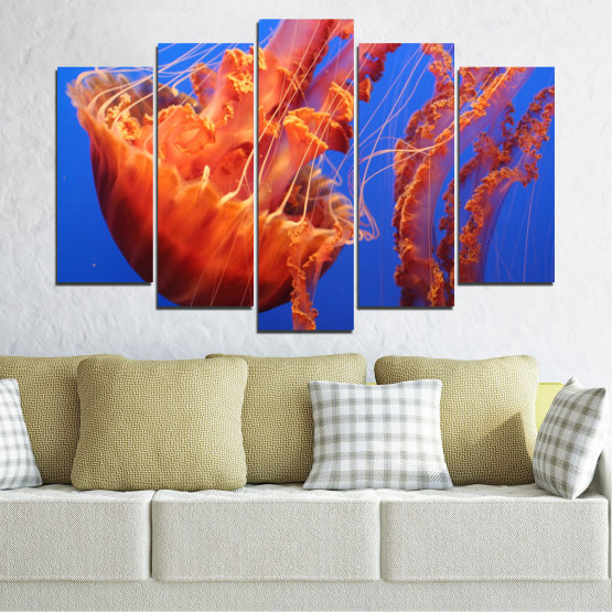 Canvas prints & wall decorative panels - 5 pieces №0515 » Red, Blue, Orange » Animal, Water, Jellyfish Form #1