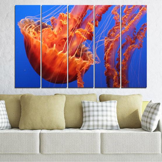 Декоративни панели и картини от канава - от 5 части №0515 » Червен, Син, Оранжев » Вода, Животни, Медуза Form #2