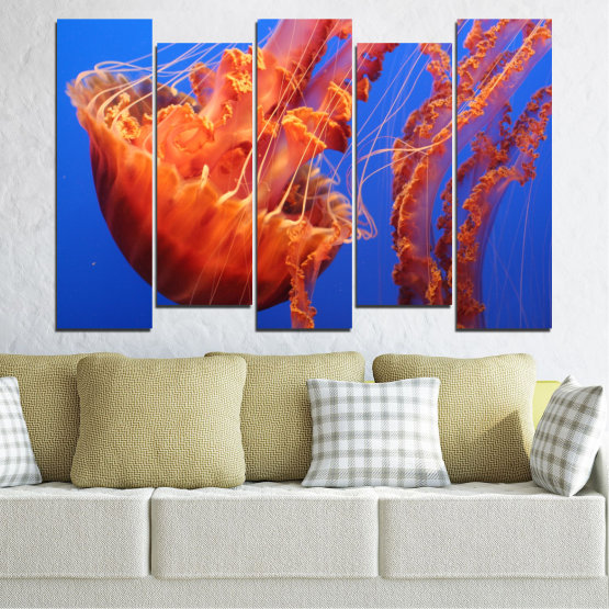 Декоративни панели и картини от канава - от 5 части №0515 » Червен, Син, Оранжев » Вода, Животни, Медуза Form #3