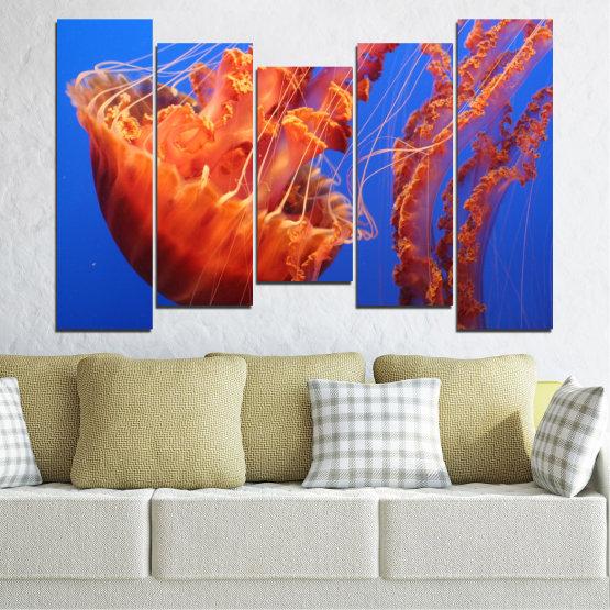 Декоративни панели и картини от канава - от 5 части №0515 » Червен, Син, Оранжев » Вода, Животни, Медуза Form #4