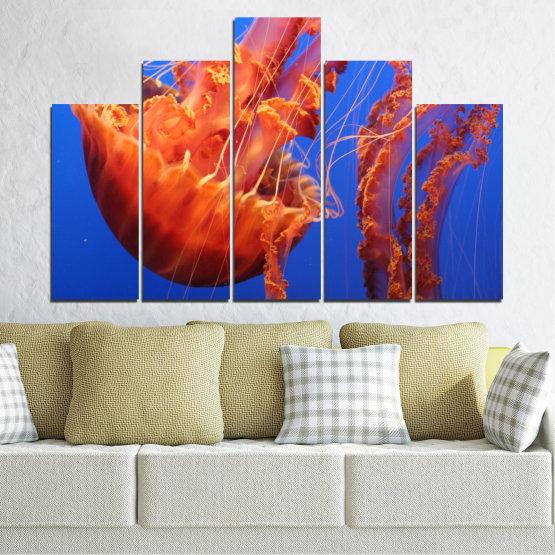 Декоративни панели и картини от канава - от 5 части №0515 » Червен, Син, Оранжев » Вода, Животни, Медуза Form #5