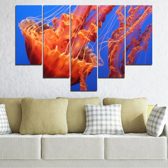 Canvas prints & wall decorative panels - 5 pieces №0515 » Red, Blue, Orange » Animal, Water, Jellyfish Form #6