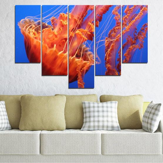 Декоративни панели и картини от канава - от 5 части №0515 » Червен, Син, Оранжев » Вода, Животни, Медуза Form #6