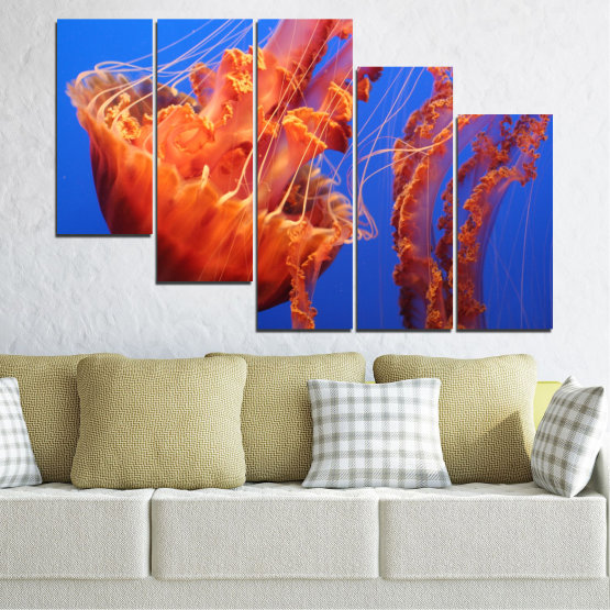 Canvas prints & wall decorative panels - 5 pieces №0515 » Red, Blue, Orange » Animal, Water, Jellyfish Form #7