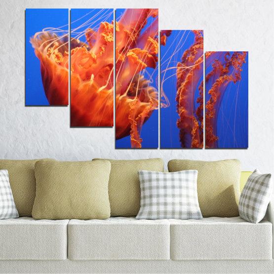 Декоративни панели и картини от канава - от 5 части №0515 » Червен, Син, Оранжев » Вода, Животни, Медуза Form #7