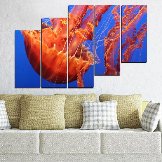 Декоративни панели и картини от канава - от 5 части №0515 » Червен, Син, Оранжев » Вода, Животни, Медуза Form #8