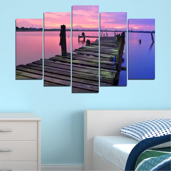 Декоративни панели и картини от канава - от 5 части №0516 » Черен, Сив, Млечно розов, Тъмно сив » Пейзаж, Залез, Вода, Мост Form #1
