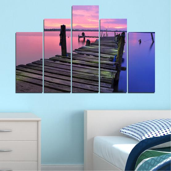 Декоративни панели и картини от канава - от 5 части №0516 » Черен, Сив, Млечно розов, Тъмно сив » Пейзаж, Залез, Вода, Мост Form #5