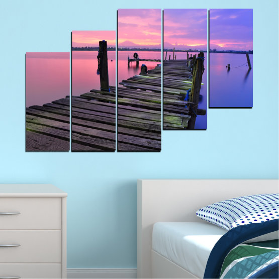 Декоративни панели и картини от канава - от 5 части №0516 » Черен, Сив, Млечно розов, Тъмно сив » Пейзаж, Залез, Вода, Мост Form #8
