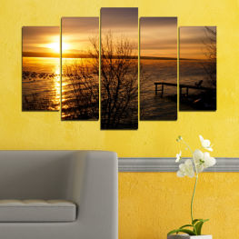Water, Sunset, Sea, Bay, Bridge » Orange, Brown, Black, Dark grey
