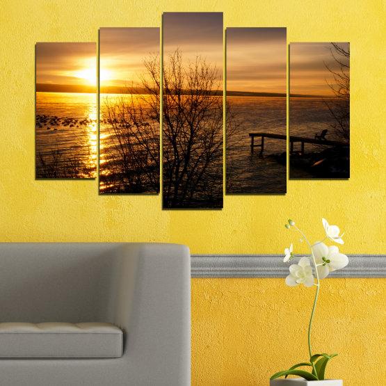 Canvas prints & wall decorative panels - 5 pieces №0517 » Orange, Brown, Black, Dark grey » Sea, Water, Sunset, Bay, Bridge Form #1