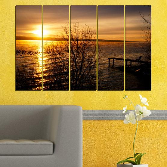 Canvas prints & wall decorative panels - 5 pieces №0517 » Orange, Brown, Black, Dark grey » Sea, Water, Sunset, Bay, Bridge Form #2
