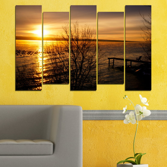 Canvas prints & wall decorative panels - 5 pieces №0517 » Orange, Brown, Black, Dark grey » Sea, Water, Sunset, Bay, Bridge Form #3