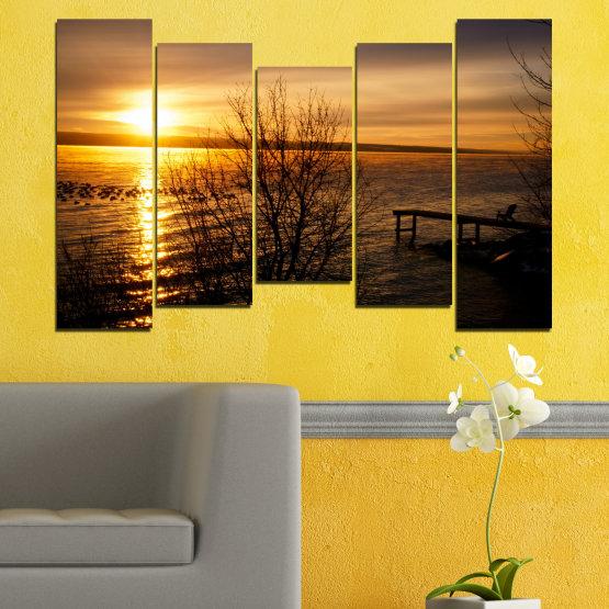 Canvas prints & wall decorative panels - 5 pieces №0517 » Orange, Brown, Black, Dark grey » Sea, Water, Sunset, Bay, Bridge Form #4