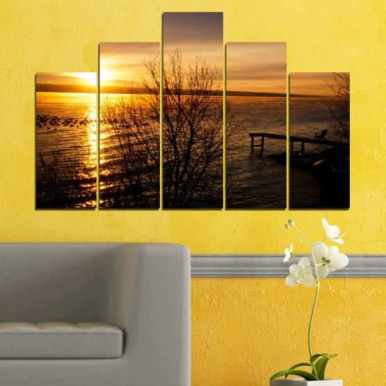 Canvas prints & wall decorative panels - 5 pieces №0517 » Orange, Brown, Black, Dark grey » Sea, Water, Sunset, Bay, Bridge Form #5