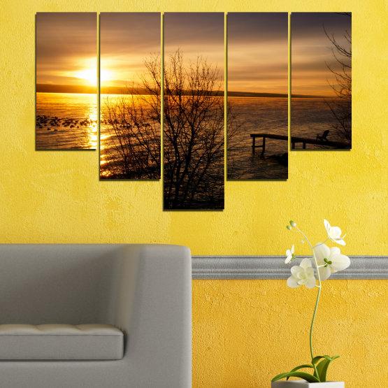 Canvas prints & wall decorative panels - 5 pieces №0517 » Orange, Brown, Black, Dark grey » Sea, Water, Sunset, Bay, Bridge Form #6