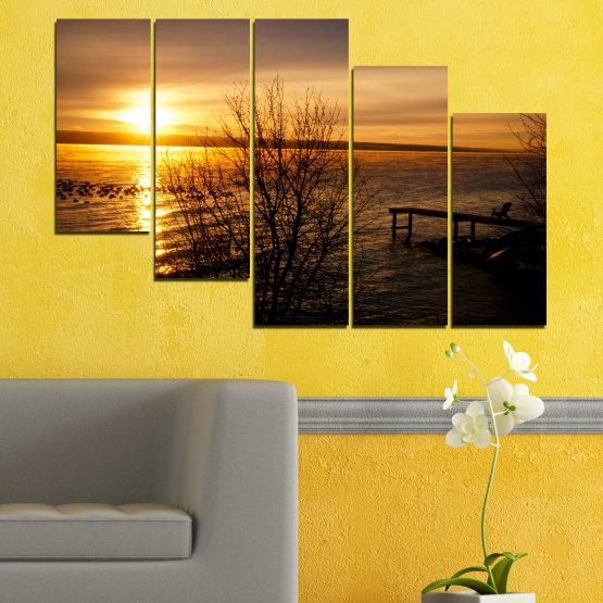 Canvas prints & wall decorative panels - 5 pieces №0517 » Orange, Brown, Black, Dark grey » Sea, Water, Sunset, Bay, Bridge Form #7