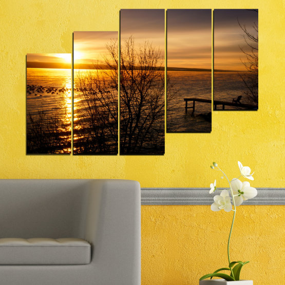 Canvas prints & wall decorative panels - 5 pieces №0517 » Orange, Brown, Black, Dark grey » Sea, Water, Sunset, Bay, Bridge Form #8