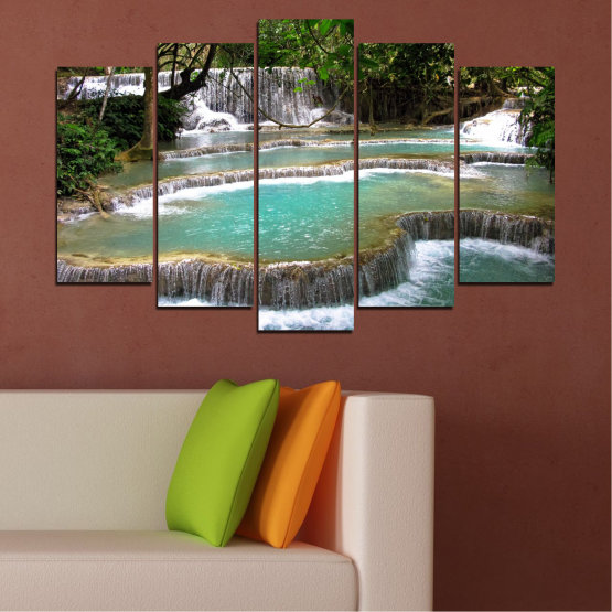 Canvas prints & wall decorative panels - 5 pieces №0518 » Green, Black, Gray, White, Dark grey » Nature, Landscape, Water, Waterfall, Forest Form #1
