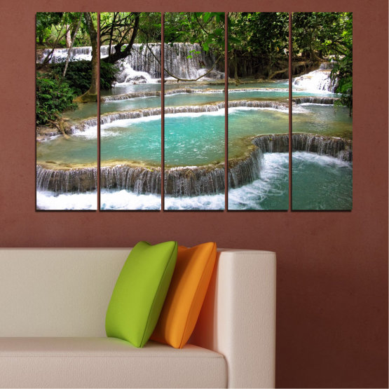Canvas prints & wall decorative panels - 5 pieces №0518 » Green, Black, Gray, White, Dark grey » Nature, Waterfall, Landscape, Water, Forest Form #2
