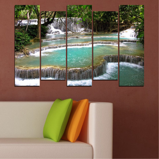 Canvas prints & wall decorative panels - 5 pieces №0518 » Green, Black, Gray, White, Dark grey » Nature, Landscape, Water, Waterfall, Forest Form #3