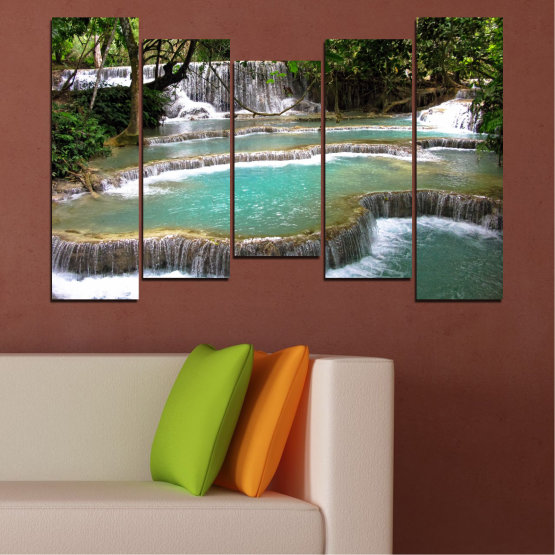 Canvas prints & wall decorative panels - 5 pieces №0518 » Green, Black, Gray, White, Dark grey » Nature, Landscape, Water, Waterfall, Forest Form #4