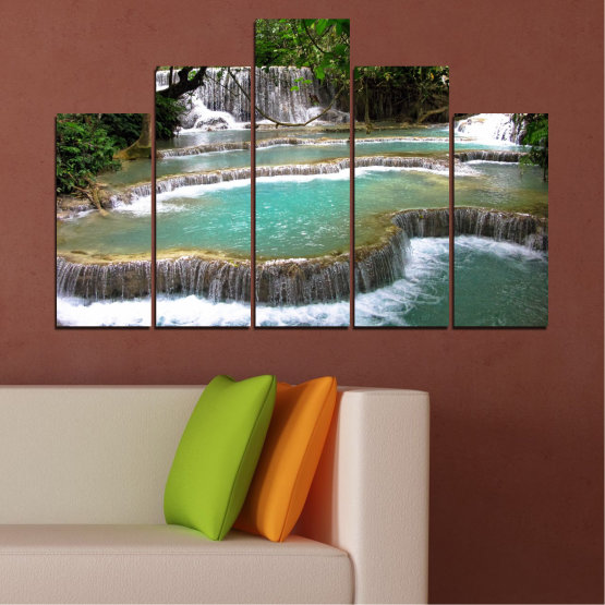 Canvas prints & wall decorative panels - 5 pieces №0518 » Green, Black, Gray, White, Dark grey » Nature, Landscape, Water, Waterfall, Forest Form #5