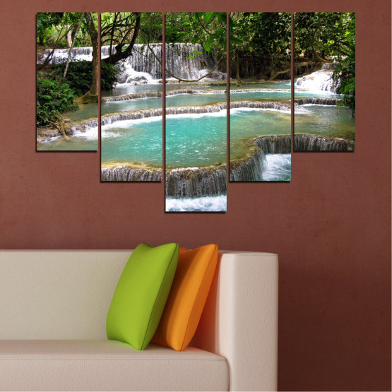 Canvas prints & wall decorative panels - 5 pieces №0518 » Green, Black, Gray, White, Dark grey » Nature, Landscape, Water, Waterfall, Forest Form #6
